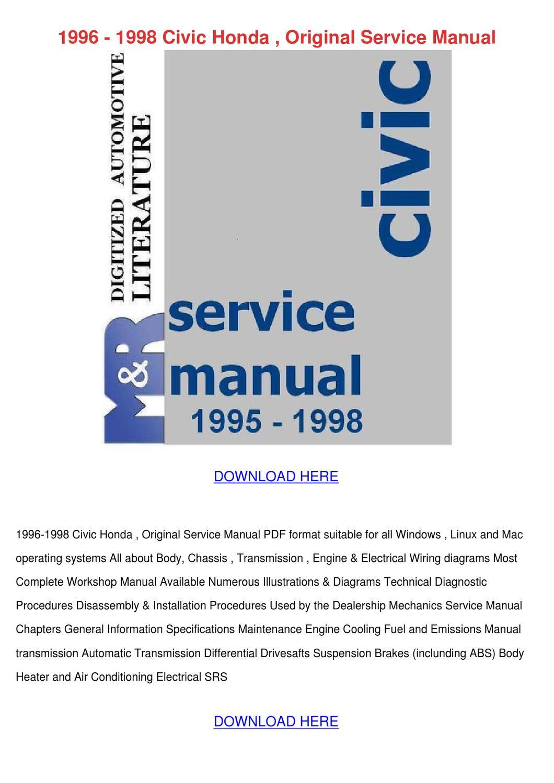 1996 1998 Civic Honda Original Service Manual By