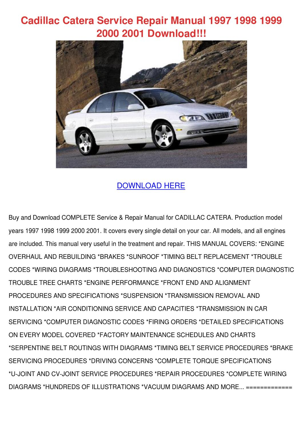 2015 Cadillac Catera Owners Manual 1998 Engine Diagram Service Repair 1997 19 By Lovielemons Issuu Rh Com Cimarron Srx