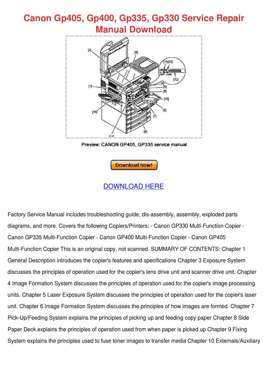 Canon Gp405 Gp400 Gp335 Gp330 Service Repair by LovieLemons - issuu