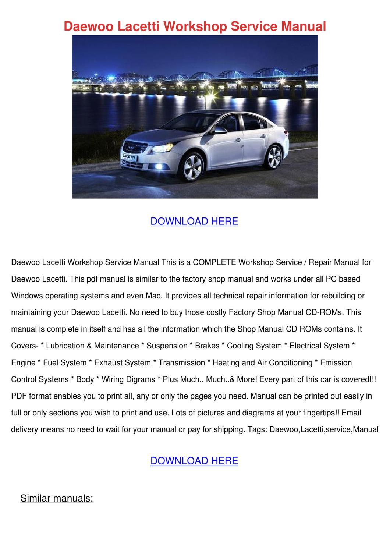 Daewoo Lacetti Workshop Service Manual by LovieLemons - issuu