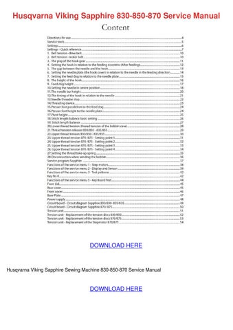 Husqvarna Viking Sapphire 830 850 870 Service by LincolnLandis - issuu