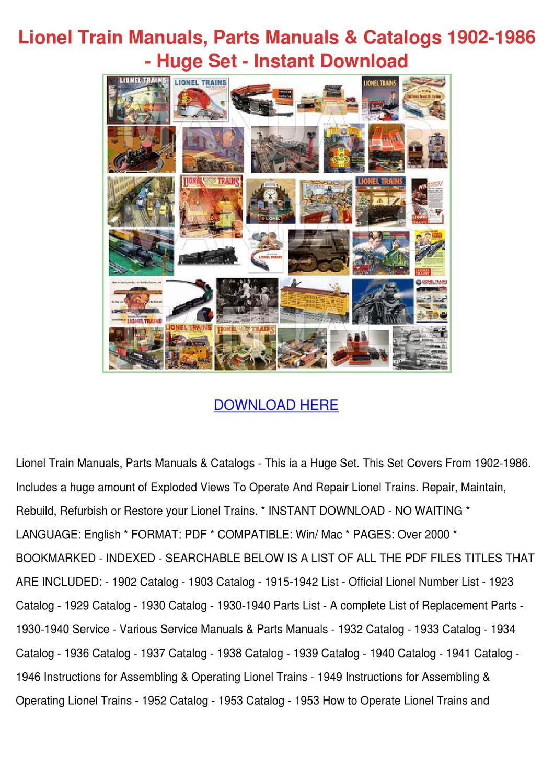 Lionel Train Parts Catalog Manual Guide