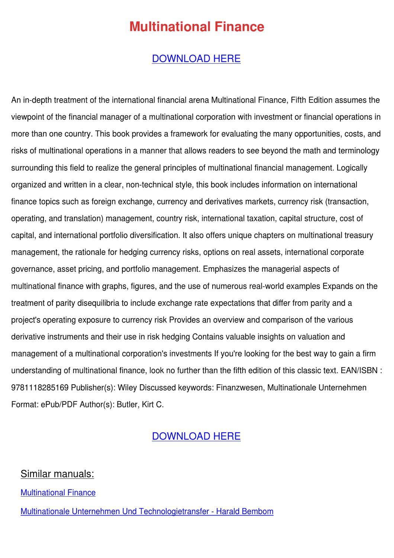 Multinational Finance by HughGainey - issuu