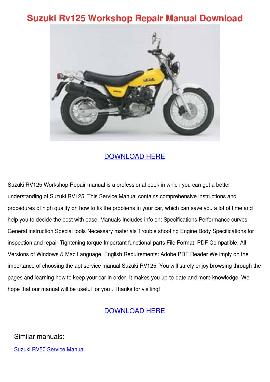 Suzuki Rv125 Workshop Repair Manual Download By