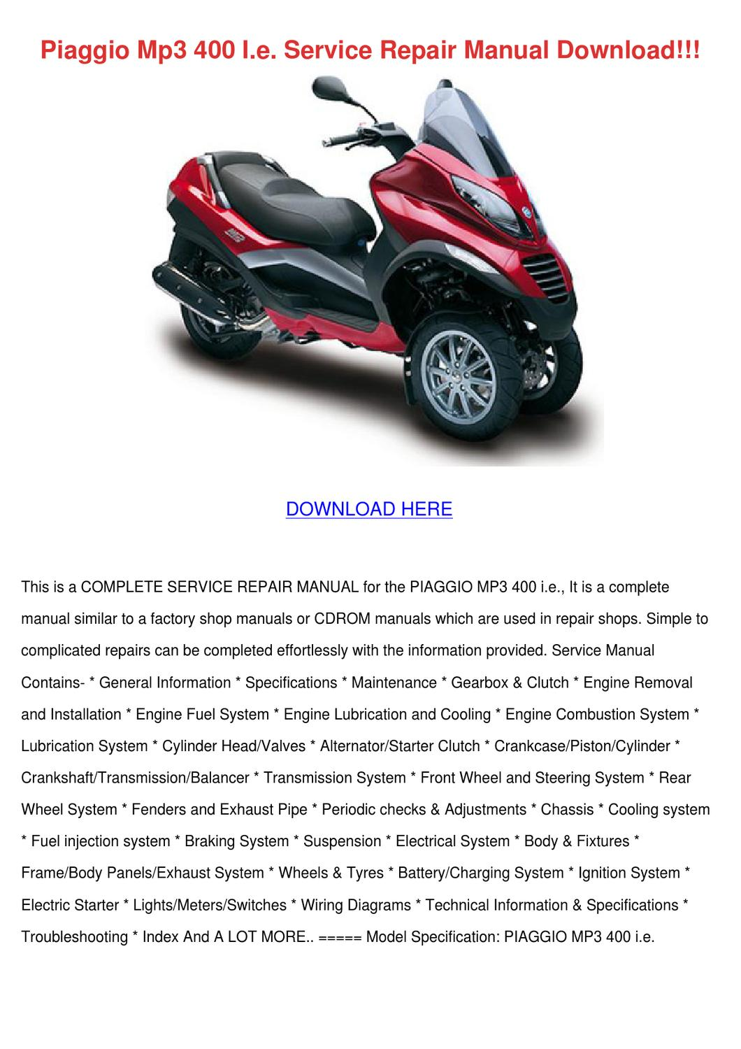 piaggio mp3 400 ie service repair manual downjacobgibbons - issuu