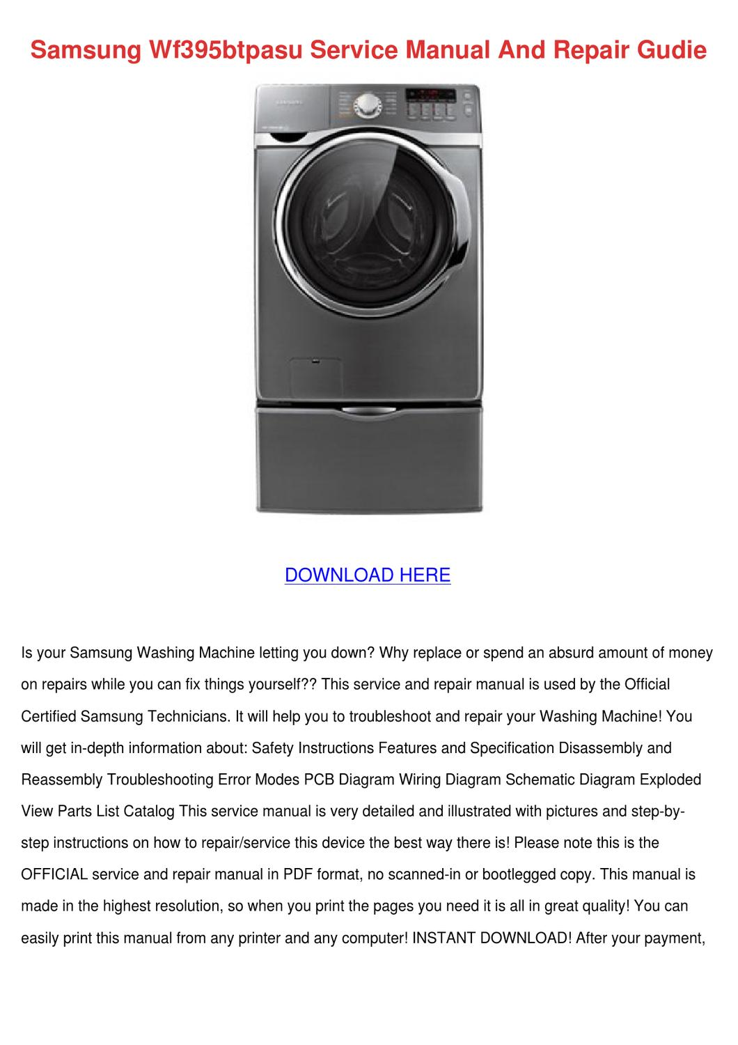 Samsung Wf395btpasu Service Manual And Repair By Tinastack Issuu Wiring Diagram Of Washing Machine Pdf