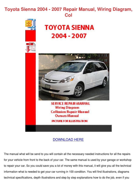 Toyota Sienna 2004 2007 Repair Manual Wiring By Tinastack