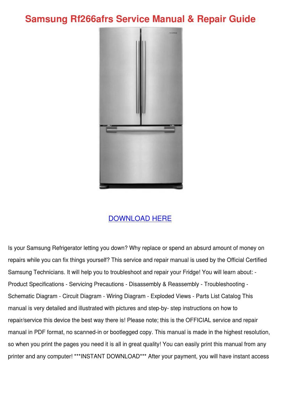 Samsung Rf266afrs Service Manual Repair Guide by RoyceRenteria - issuu