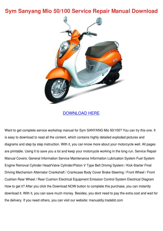 Pleasing Sym Sanyang Mio 50100 Service Repair Manual D By Roycerenteria Issuu Wiring Digital Resources Cettecompassionincorg