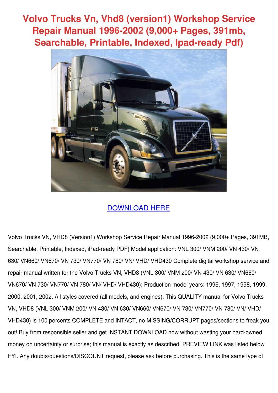 volvo trucks vn vhd8 version1 workshop servic by. Black Bedroom Furniture Sets. Home Design Ideas