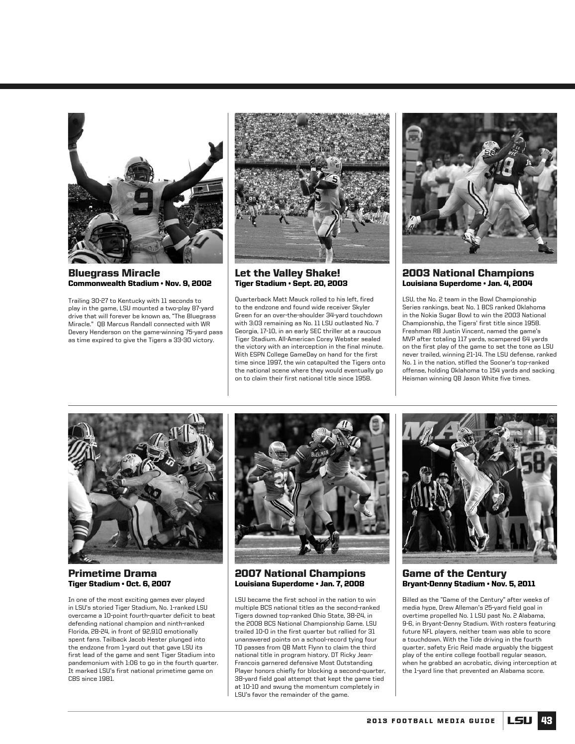 2013 LSU Football Media Guide by LSU Athletics - Issuu