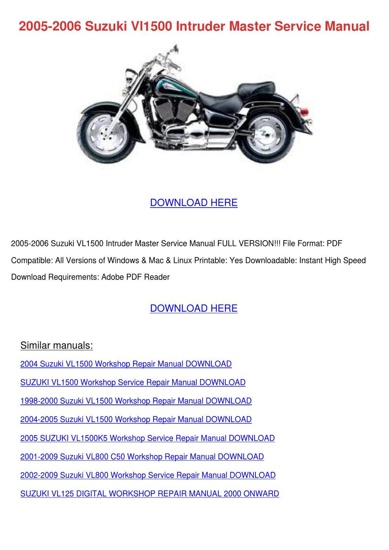 2005 2006 Suzuki Vl1500 Intruder Master Servi by WardToledo - issuu