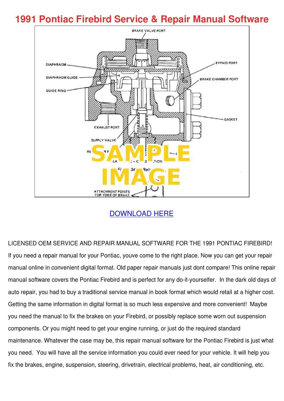 1991 Pontiac Firebird Service Repair Manual S by PattyOswald - issuu
