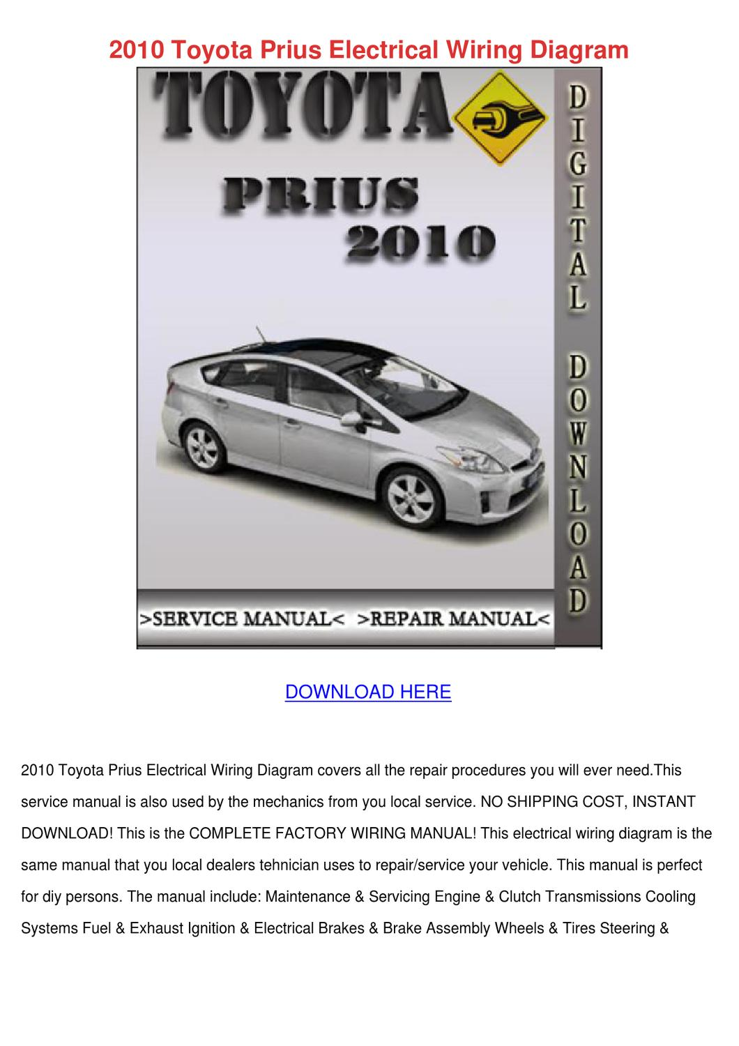 2010 Toyota Prius Electrical Wiring Diagram By Wardtoledo