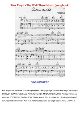 Pink Floyd The Wall Sheet Music Songbook By Roccopurcell Issuu