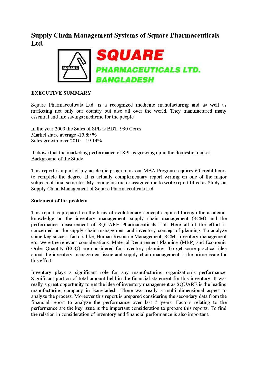supply chain systems of square pharma bangladesh Square pharmaceuticals limited, square  in recent time sap software has become a well set software solution for business management system in bangladesh.