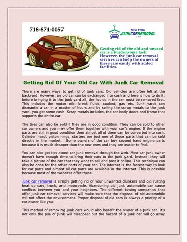 getting rid of your old car with junk car removal by jennifer