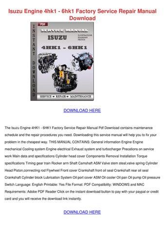 Isuzu 2aa1 3aa1 2ab1 3ab1 diesel engine workshop isuzu engine 4hk1 6hk1 factory service repair manual download fandeluxe Images
