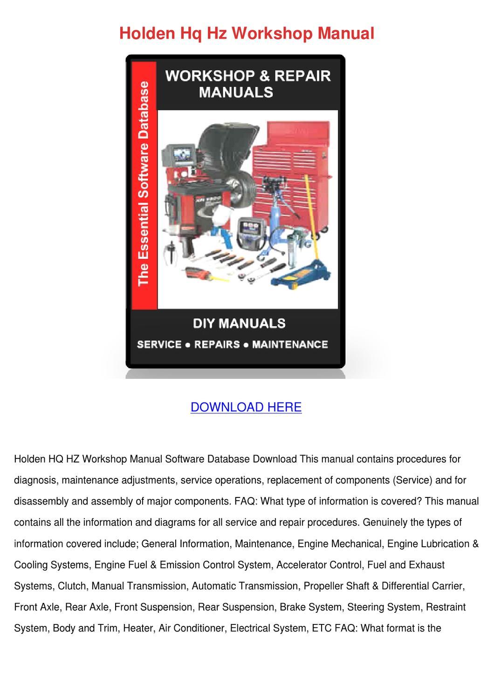 Holden Hq Hz Workshop Manual by KathieHorn - issuu
