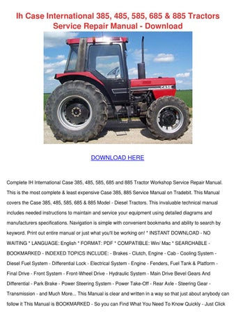 ih case international 385 485 585 685 885 tra by case ih 485 owners manual case ih 485 owners manual
