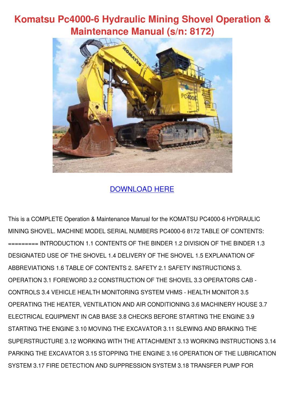 Komatsu Pc4000 6 Hydraulic Mining Shovel Oper by KathieHorn - issuu