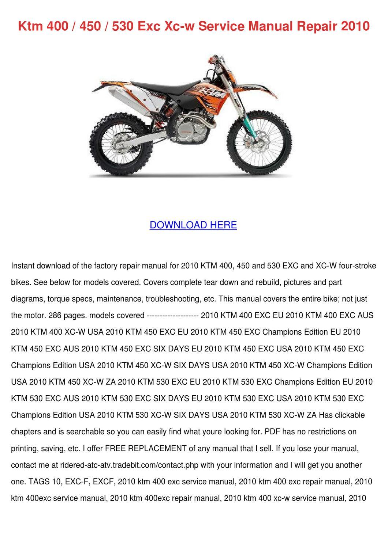 Ktm 400 450 530 Exc Xc W Service Manual Repai by KathieHorn - issuu