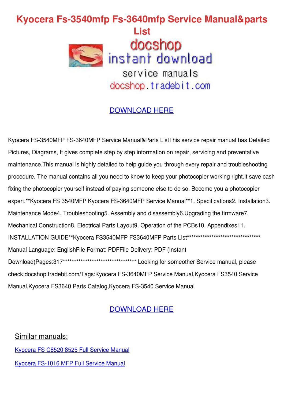 Kyocera Fs 3540mfp Fs 3640mfp Service Manualp by KathieHorn