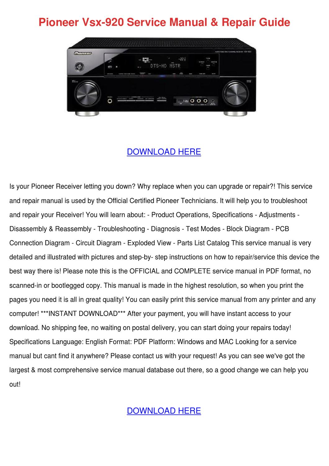 Pioneer Vsx 920 Service Manual Repair Guide By Jeannettehammond Issuu Electronic Circuit Pdf