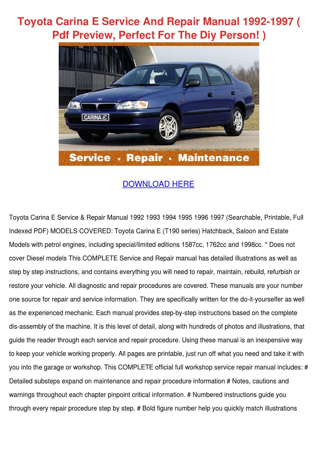 toyota carina e service and repair manual 199 by leoralaird issuu