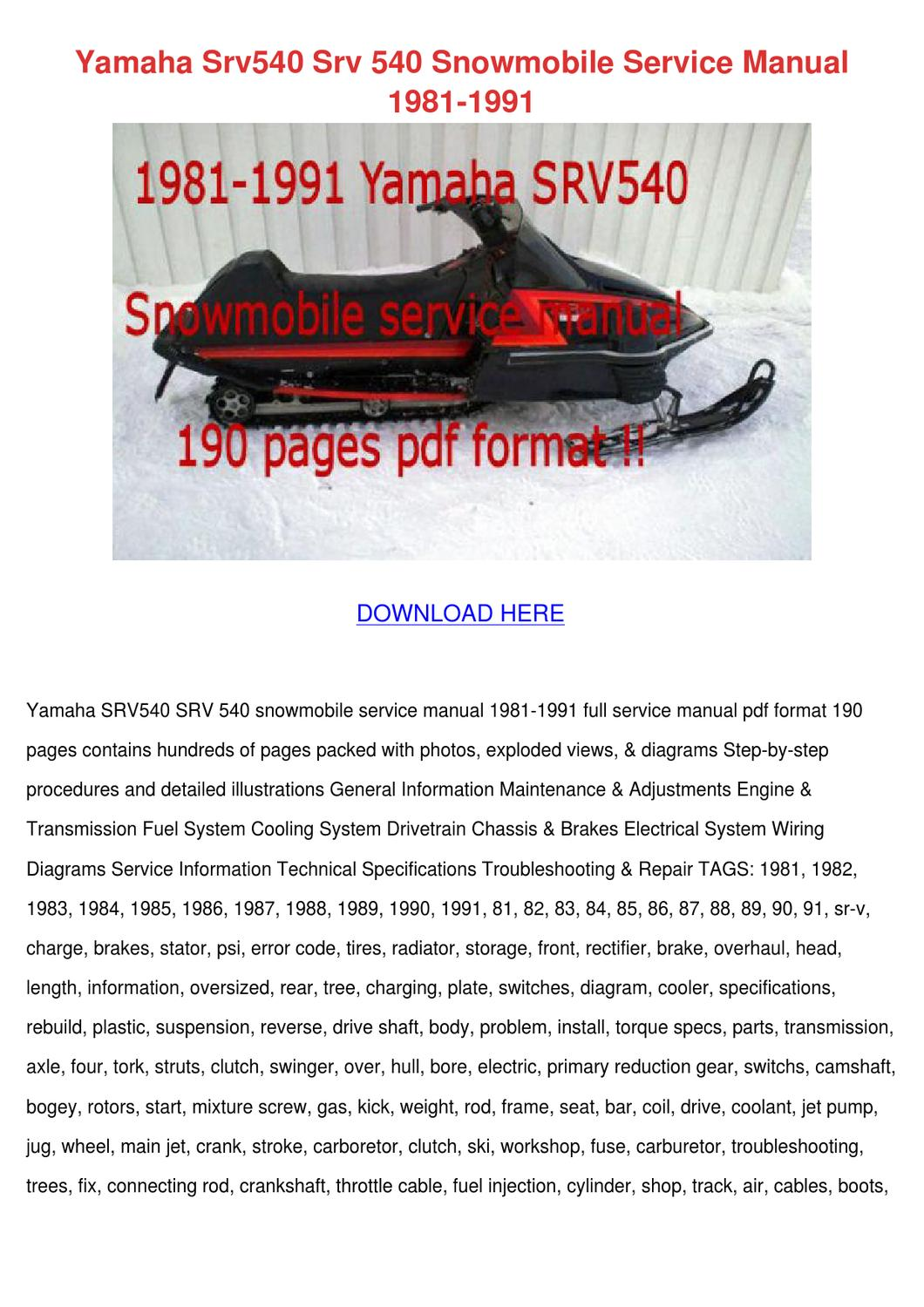 page_1 yamaha srv540 srv 540 snowmobile service manu by leoralaird issuu  at alyssarenee.co