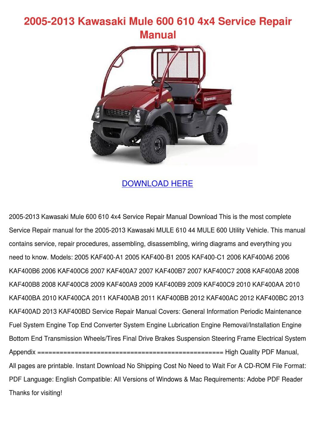 2005 2013 Kawasaki Mule 600 610 4x4 Service R By Sammyrosenbaum Issuu Wiring Diagram For 4010