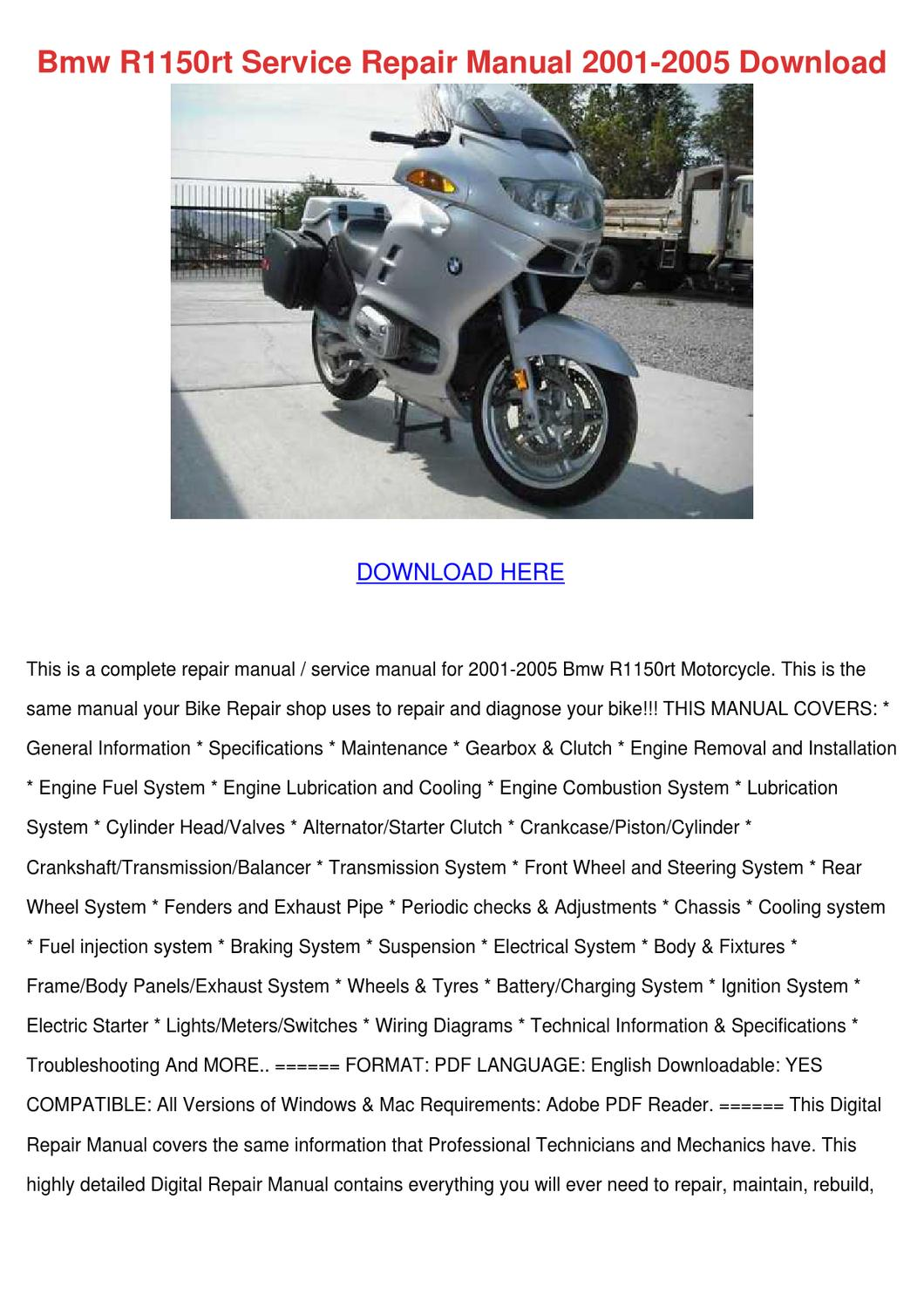 bmw r1150rt service repair manual 2001 2005 d by. Black Bedroom Furniture Sets. Home Design Ideas