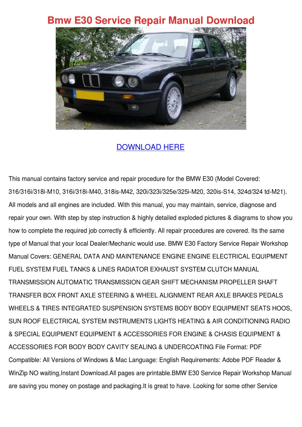 bmw e30 service repair manual download by concettacabral. Black Bedroom Furniture Sets. Home Design Ideas