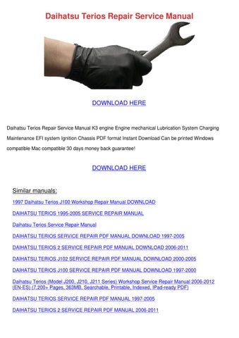 Daihatsu K3 Ve Engine Service Manual