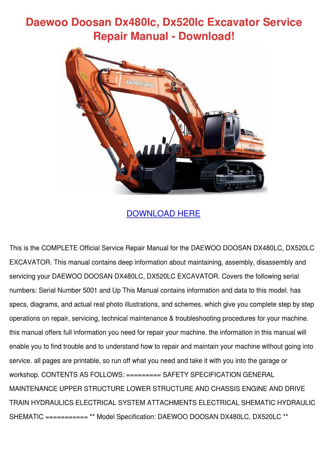 Daewoo Doosan Dx480lc Dx520lc Excavator Servi By Concettacabral Issuu Hydraulic System Diagram Serial Numbers