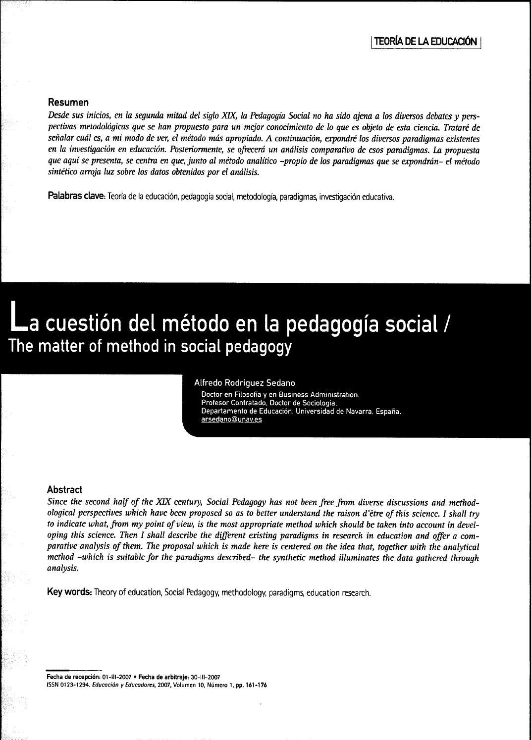 27748075 la cuestion del método en la pedagogía social by ...