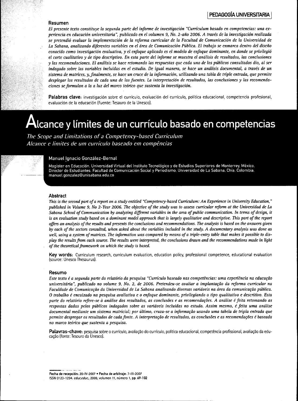 Alcances y limites de un curriculum basado en competencias by ...