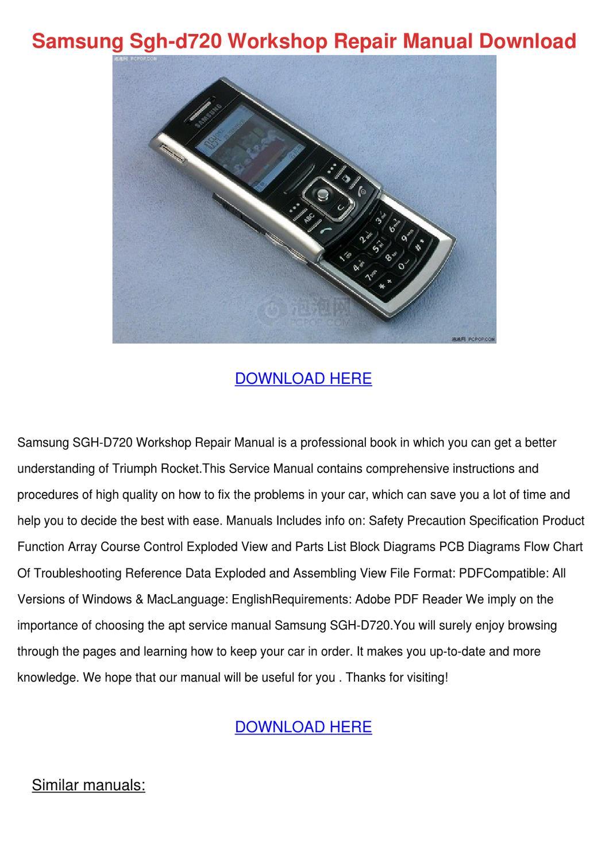 Samsung Sgh D720 Workshop Repair Manual Downl By