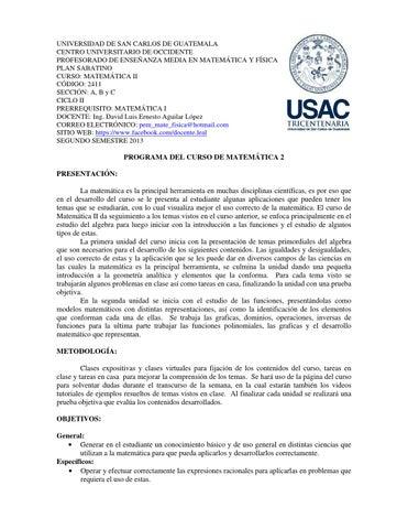 Programa del curso matemática 2, pem by Luis Aguilar López - issuu