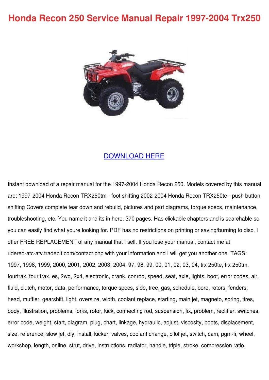Honda Recon 250 Service Manual Repair 1997 20 by ...