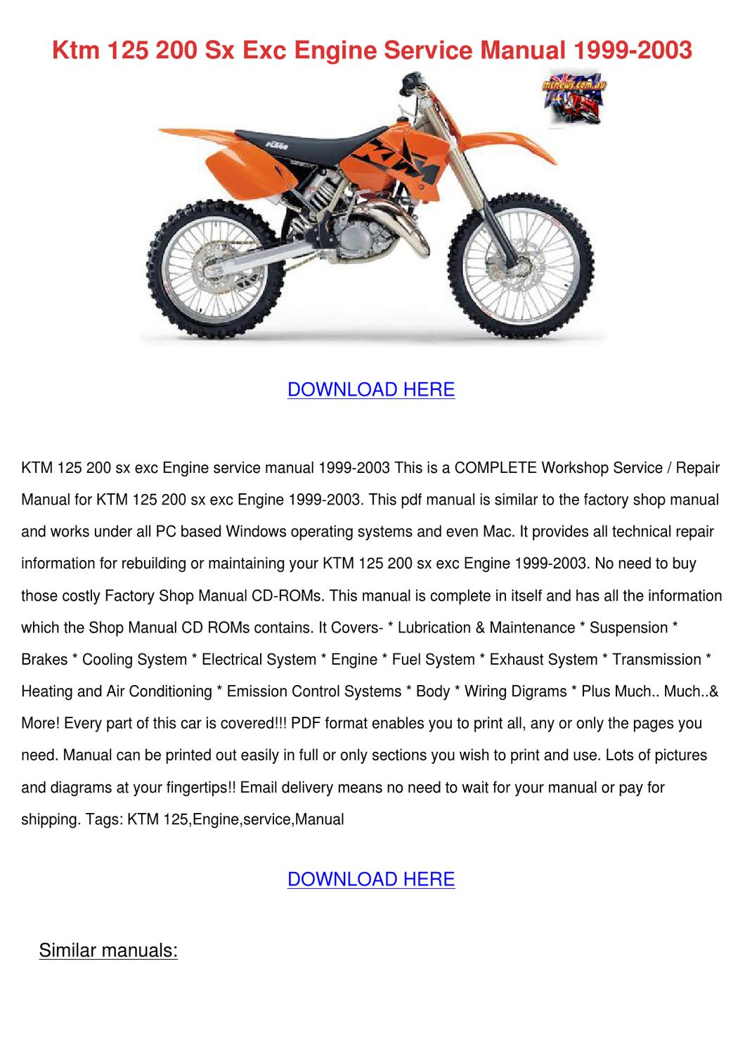 Ktm 125 200 Sx Exc Engine Service Manual 1999 By