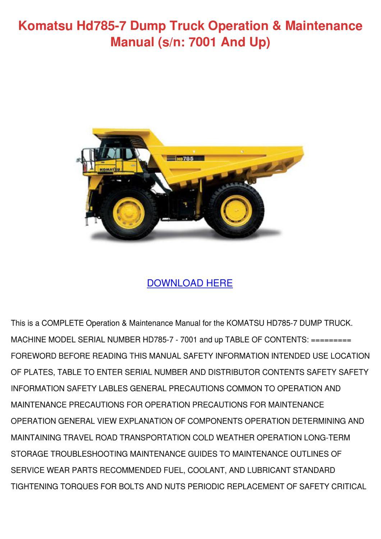 komatsu hd785 7 dump truck operation maintena by