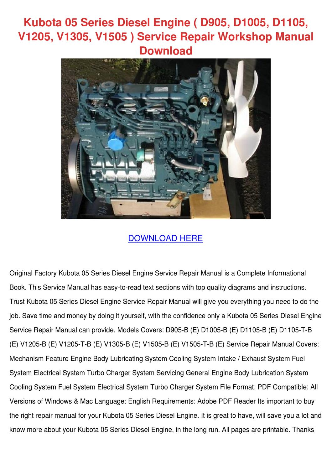 Kubota 05 Series Diesel Engine D905 D1005 D11 by GeoffreyFelton - issuu