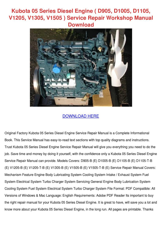 Kubota 05 Series Diesel Engine D905 D1005 D11 By Geoffreyfelton Issuu D1105 Wiring Diagram