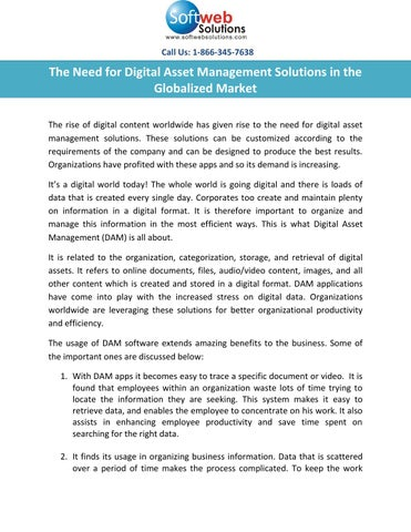 The need for digital asset management solutions in the globalized