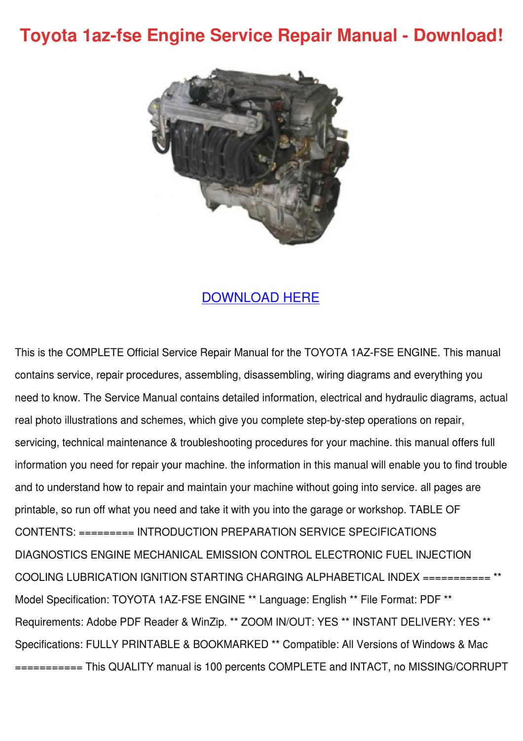 Toyota 1az Fse Engine Service Repair Manual D By