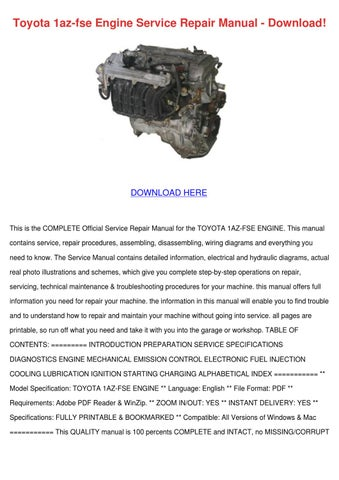 toyota 1az fse engine service repair manual d by nolaoconnor issuu rh issuu com toyota engine repair manual toyota 2l engine repair manual pdf