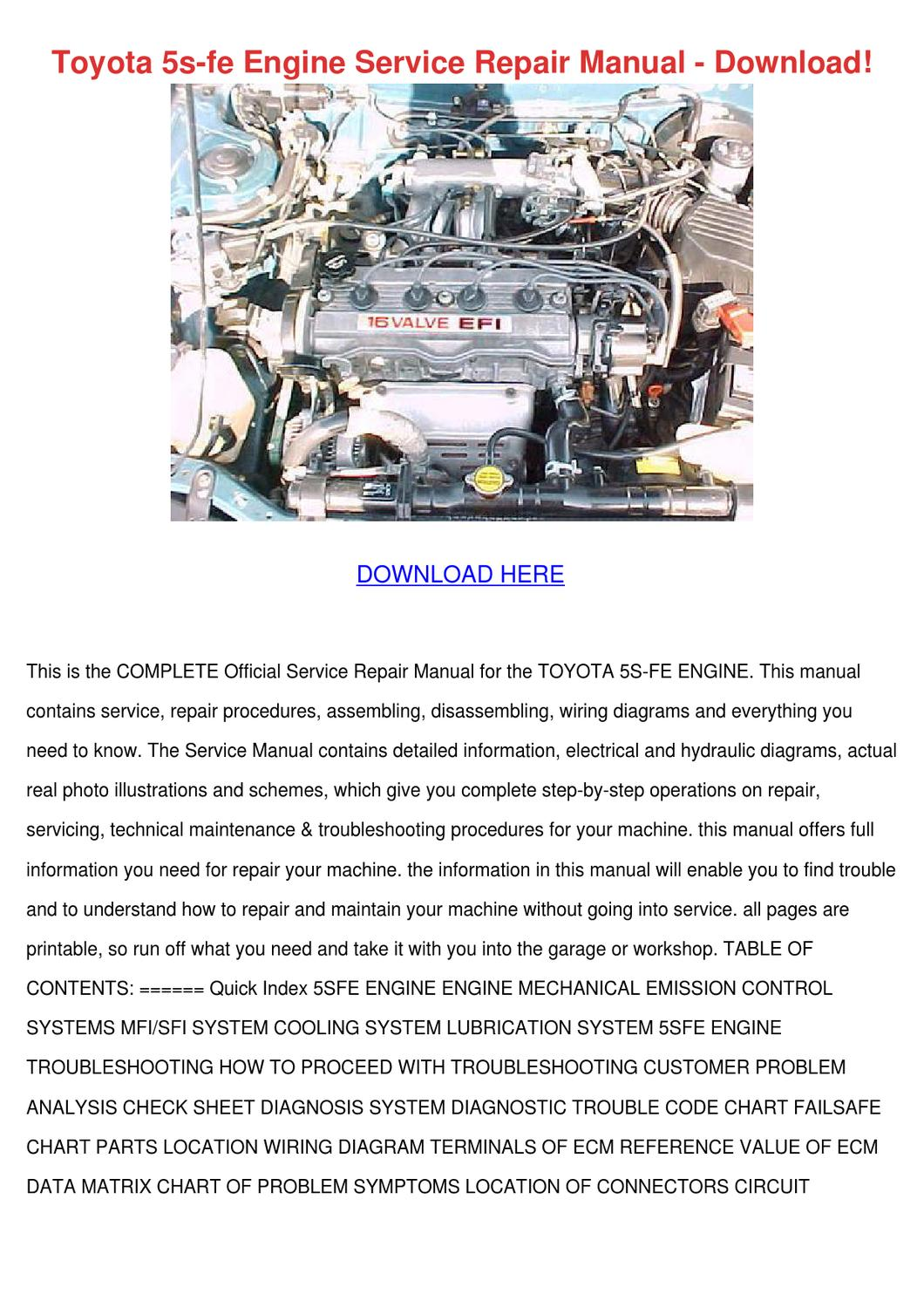 Toyota 5s Fe Engine Service Repair Manual Dow By