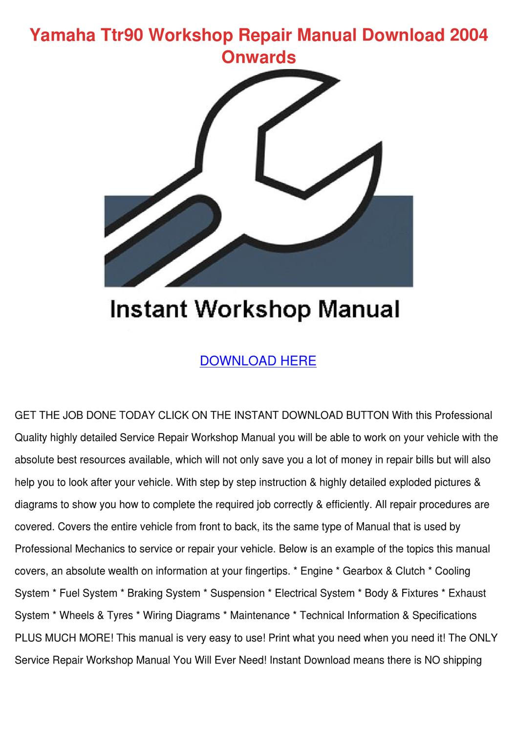 page_1 yamaha ttr90 workshop repair manual download by nolaoconnor issuu ttr50 wiring diagram at gsmx.co