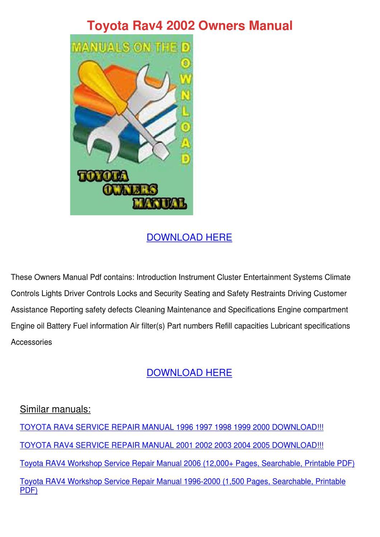 2003 Rav4 Service Manual